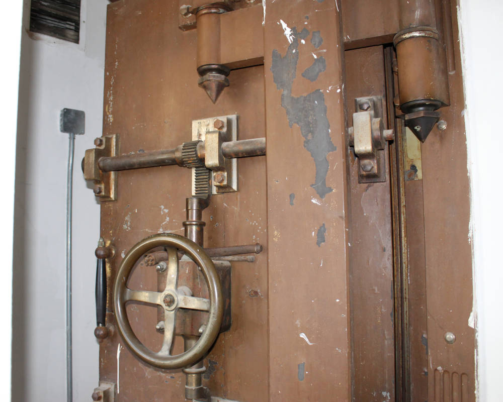 The bank vault inside the former Central National Bank still retains its time lock mechanism.